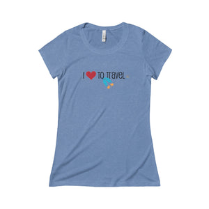 I Love to Travel. Triblend Short Sleeve Tee