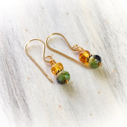 Amber and Multicolored Green Glass Beaded Earring