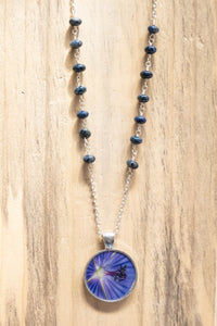 Purple Gernanium Flower Beaded Photo Necklace