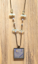 Blue Flax Flower Beaded Photo Necklace