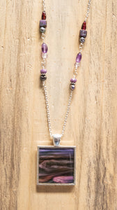 Pink and Purple River Photo Necklace