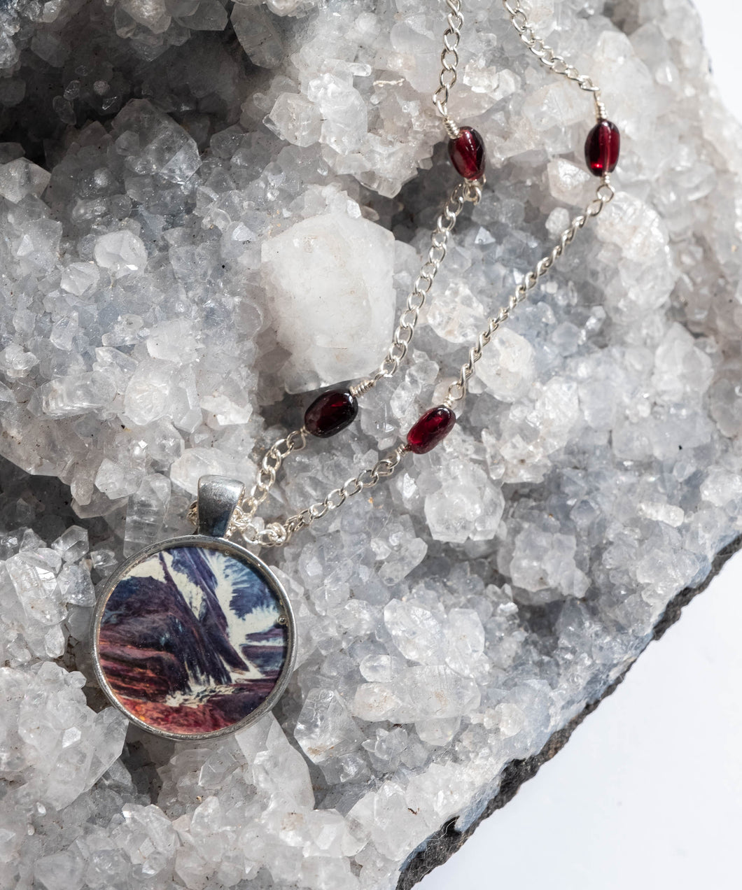 Abstract Autumn Mountainside Photo Necklace