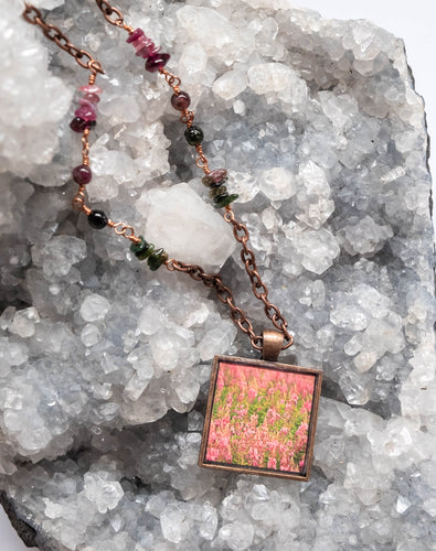 Square Fireweed and Tourmaline Beaded Necklace on Copper