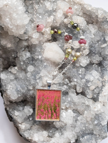 Pink Fireweed Flowers Beaded Necklace