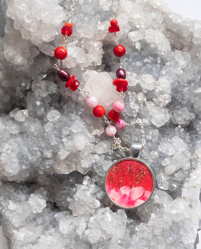 Red and Pink Sea Anemone Beaded Photo Necklace