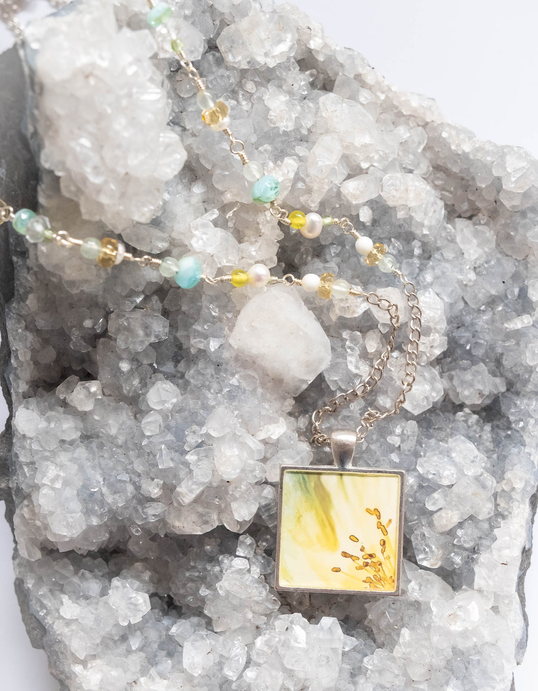 Yellow Icelandic Poppy Flower Photo Necklace