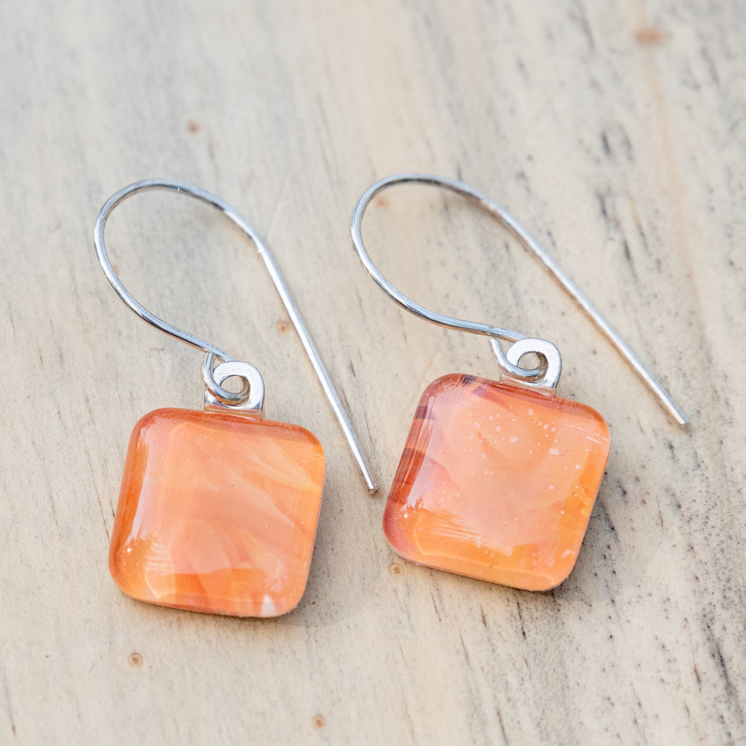 Orange Sea Anemone Photo Earring
