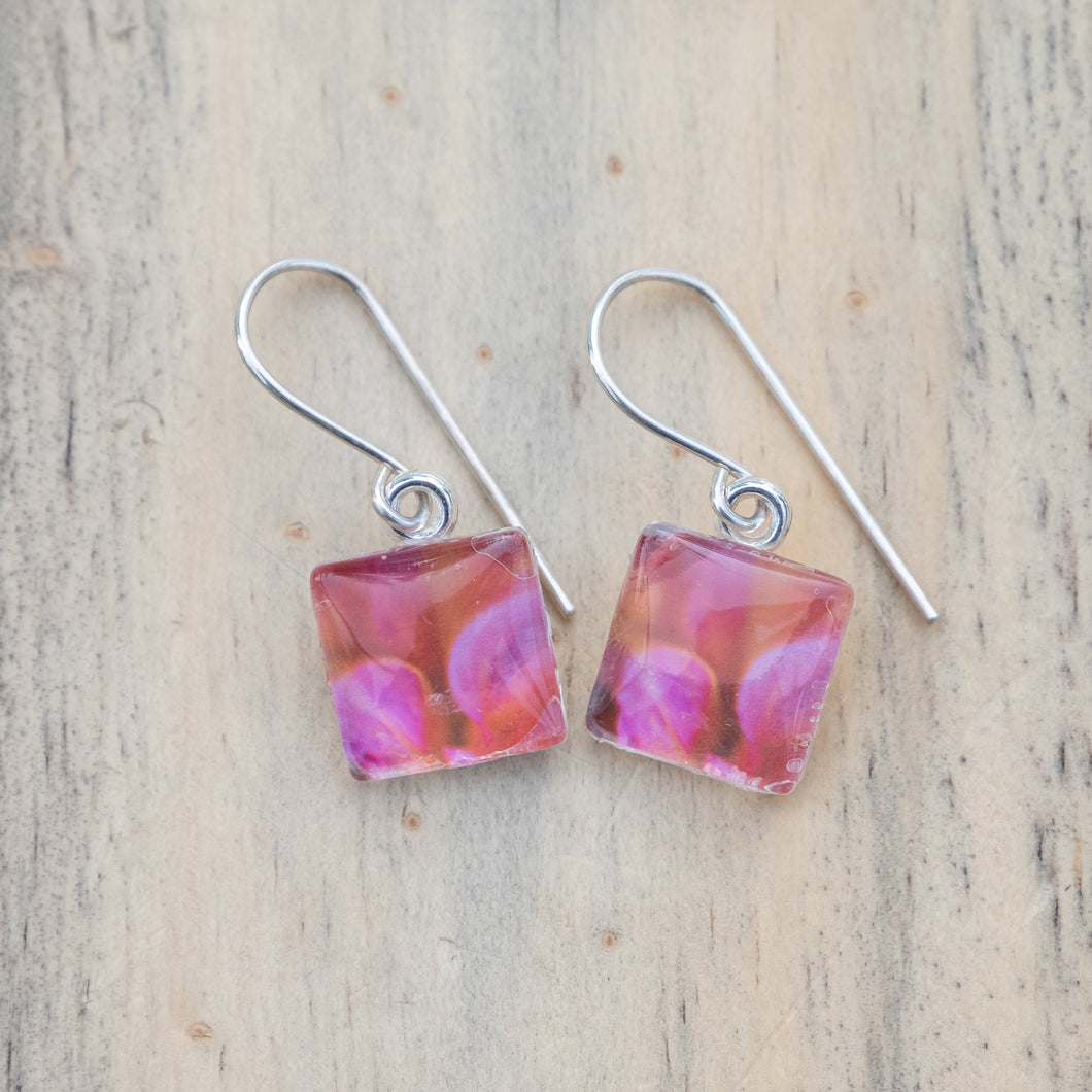 Peachy-pink Dahlia Petal Square Photo Earring