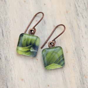 Green False Helibore Leaves Photo Earrings