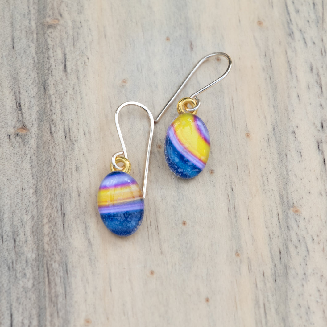 Purple and Yellow Stripe Photo Earring