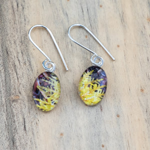 Yellow Moss Frond Photo Earrings