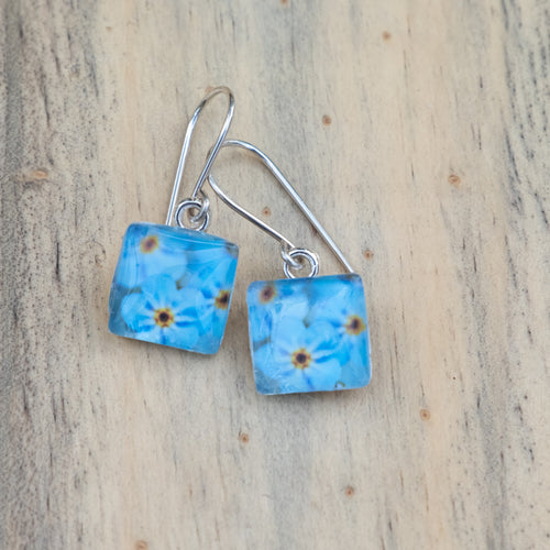 Blue Forget-me-Not Photo Earrings
