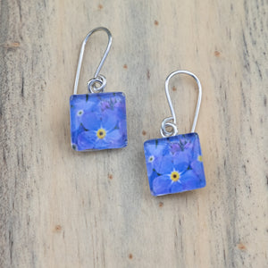 Dark Blue Forget-Me-Not Photo Earrings