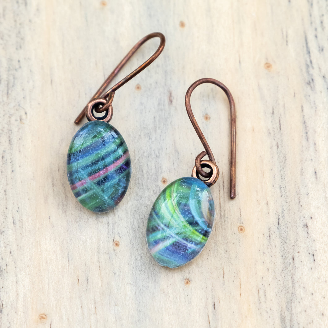 Dark Green and Pink Twirl Photo Earrings