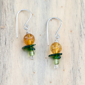 Yellow Quartz with Green Chrome Diopside and Peridot Beaded Earrings