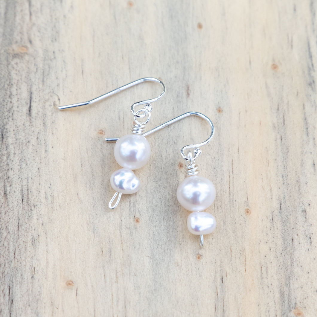 Petite Round and Irregular Freshwater Pearl Earrings