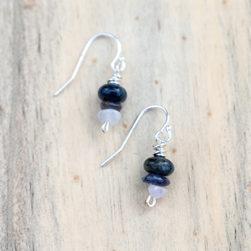 Dark Blue Dumortierite, Tanzanite and Rose Quartz Beaded Earrings