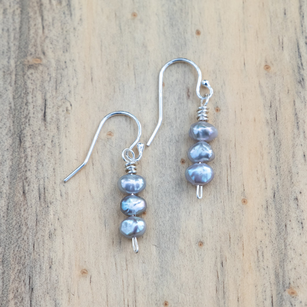 Pewter Gray Freshwater Pearl Stack Earrings