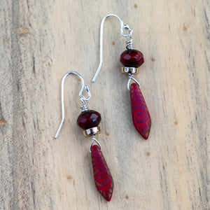 Dark Red Drop Earring