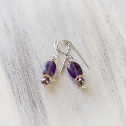 Amethyst, Citrine and Pearl Earrings