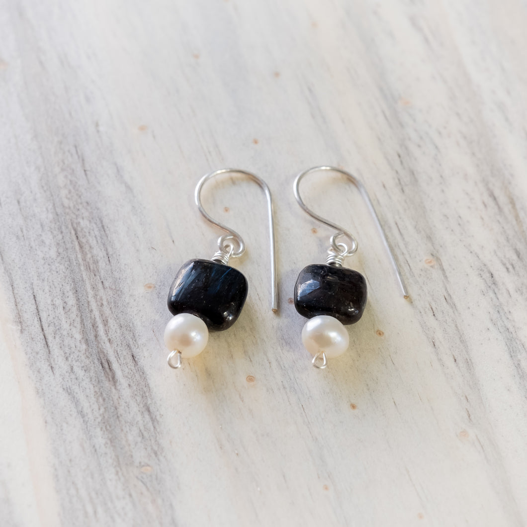 Black Tiger Eye and White Pearl earring