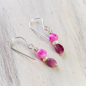 Hot Pink Tourmaline and Agate Earrings