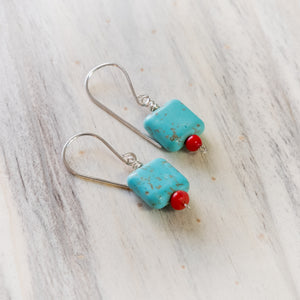 Modern Square Turquoise and Red Coral Earrings