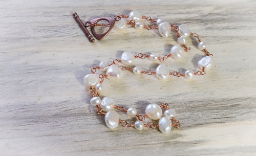 Freshwater Pearl and Copper Necklace