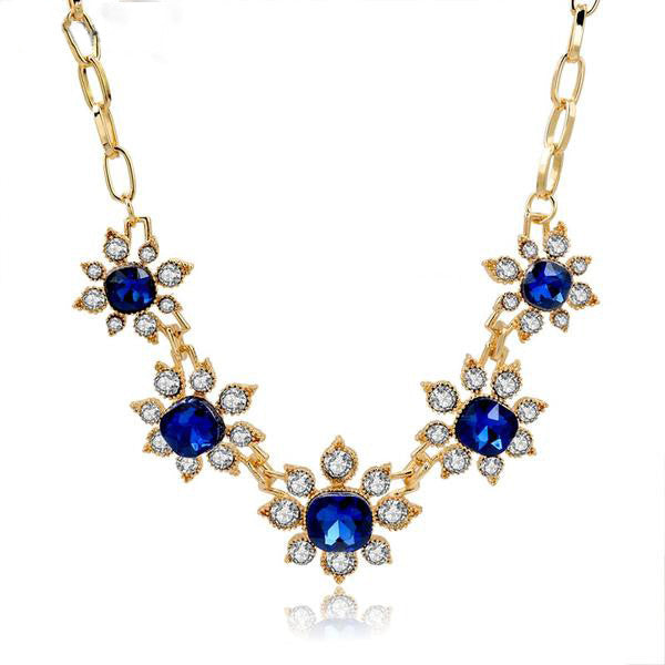 Blue Luxury Gold Chain Necklace