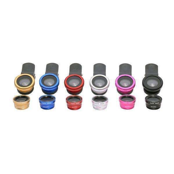 All smartphone Lens | Universal Clip 3 in 1 |  180 Fisheye + 0.67x wide angle + 10x macro lens,Mobile Lens,Wedyut.