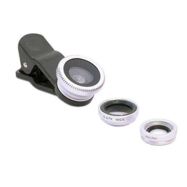 All smartphone Lens | Universal Clip 3 in 1 |  180 Fisheye + 0.67x wide angle + 10x macro lens,Mobile Lens,Silver,Wedyut.