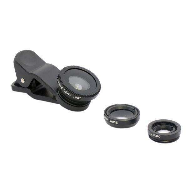 All smartphone Lens | Universal Clip 3 in 1 |  180 Fisheye + 0.67x wide angle + 10x macro lens,Mobile Lens,Black,Wedyut.