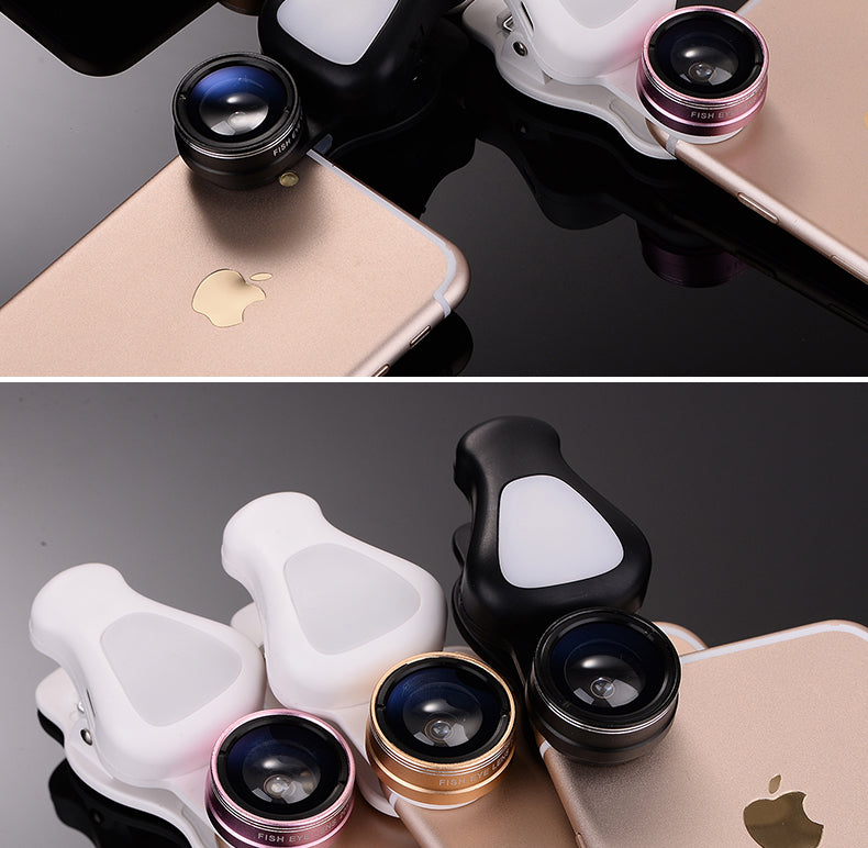 4 in 1 HD SLR Cell Phone Camera Lens Kit with Beauty LED Flash Light