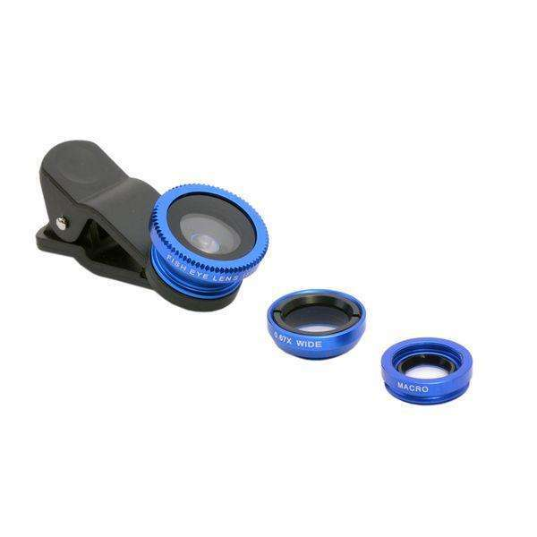 All smartphone Lens | Universal Clip 3 in 1 |  180 Fisheye + 0.67x wide angle + 10x macro lens,Mobile Lens,Blue,Wedyut.