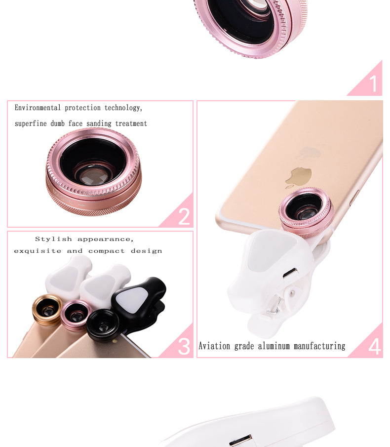 3  in 1 HD SLR Cell Phone Camera Lens Kit with Beauty LED Flash Light
