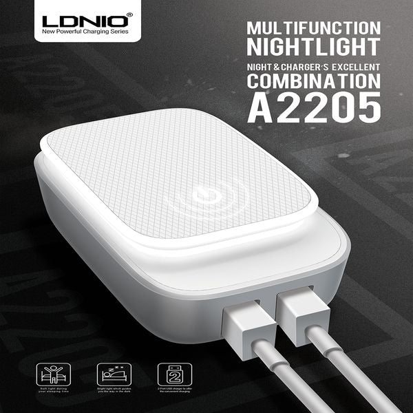 LDNIO USB Travel Charger | Touch pad LED Night Light | 3 Mode Light | 2 USB Port | DC 5V-2.4A