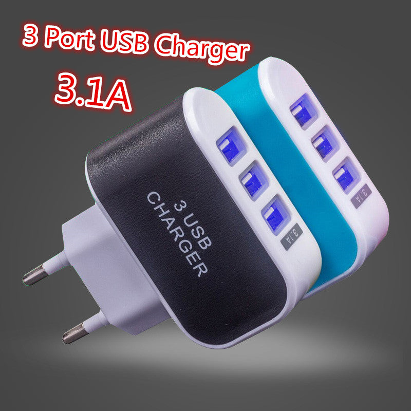 EU Power Plug 5V 3.1A universal 3 port usb wall charger for home and travel charger