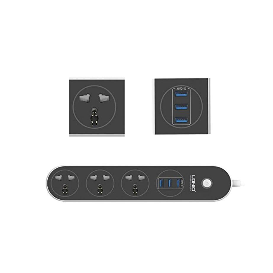 Power Sockets with USB | 3 Sockets | 3 USB Port | Fast Charging | 5V 3.1A