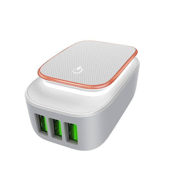 LDNIO USB Travel Charger | Touch pad LED Night light | 3 Mode | 3 Port USB | Micro USB Andriod Phones | Lightning iPhones