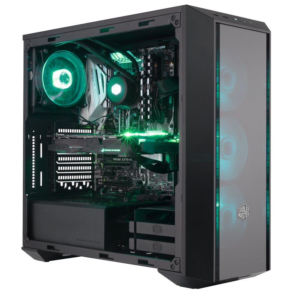 Cooler Master MasterBox Pro 5 RGB Mid Tower PC Case 3 RGB Fans 120mm Temper Glass Side Panel Dark Mirror Front Panel ATX, M ATX, ITX