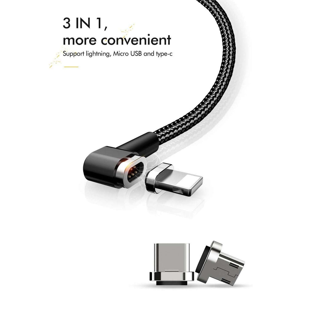 Magnetic Cable | 90degree | 3 in 1 | Lightning + Micro usb + Type-c | 1.2 m,USB Cable,Wedyut.