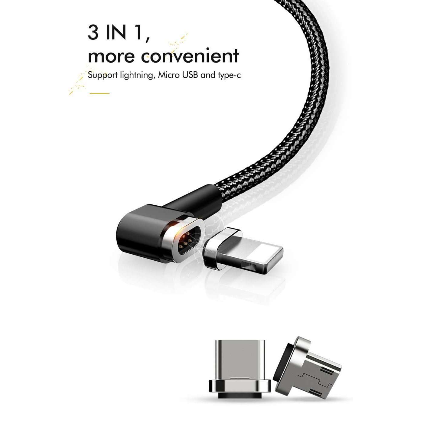 Mcdodo Magnetic Cable | 90degree | 3 in 1 | Lightning + Micro usb + Type-c | 1.2 m