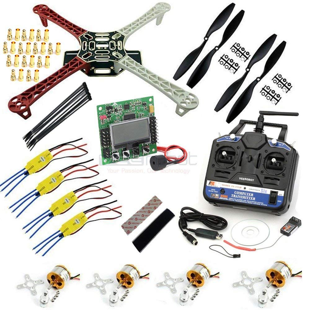 F450 Quadcopter Complete DIY Kit | Ready To Assemble and Fly DIY Multirotor | With Motors, Frame, Controller, Transmitter, Receiver