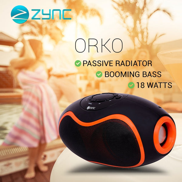 Zync Orko 18W Wireless Bluetooth Portable Speaker with USB/FM/SD Card Reader/AUX in(Orange)