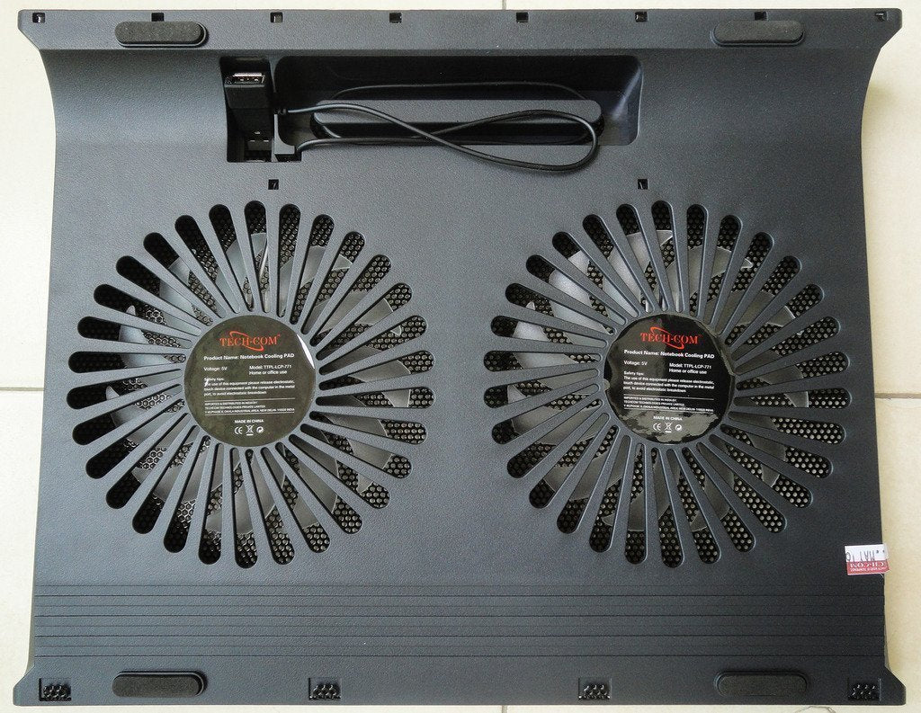 "TECH-COM Dual Fan Laptop Nootbook Cooling Pad TTPL-LCP-771 for 10 - 17"" Laptops"