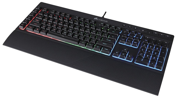 CORSAIR K55 RGB Gaming Keyboard - Quiet & Satisfying LED Backlit Keys - Media Controls - Wrist Rest Included – Onboard Macro Recording