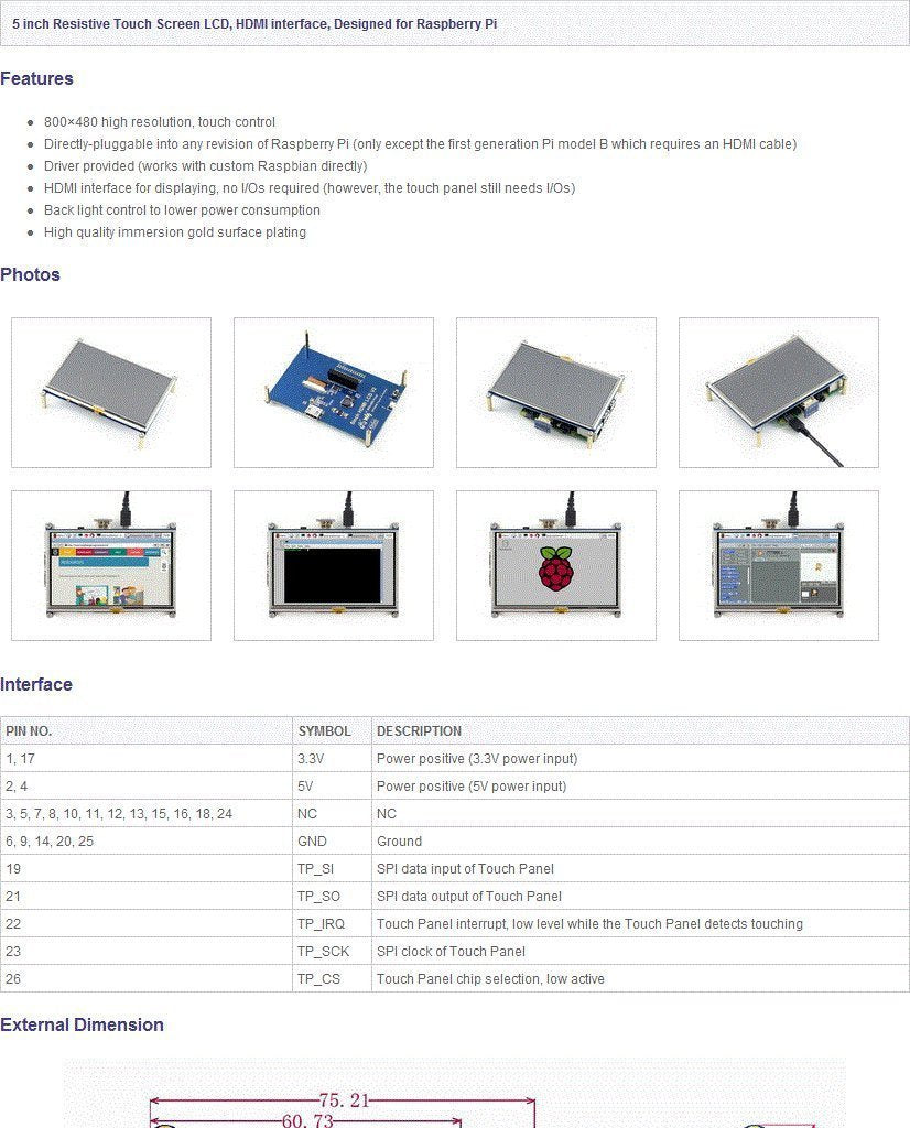 5 Inch Touch Screen HDMI Interface | 800 x 480 | TFT LCD for Raspberry Pi 2 model B + Touch Pen