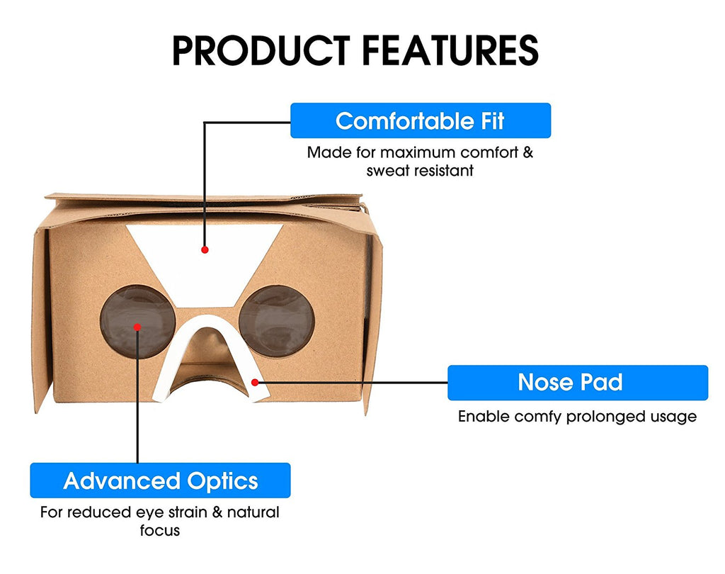 Google Cardboard Virtual Reality Headset | Fun 3D Viewer |  Exciting and Educational | Kids Friendly | Compatible with All iPhones and Android Smartphones