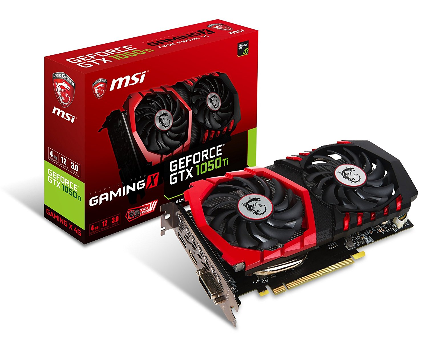 MSI Gaming GeForce GTX 1050 Ti 4GB GDDR5 DirectX 12 Graphics Card GeForce GTX 1050 Ti Gaming X 4G