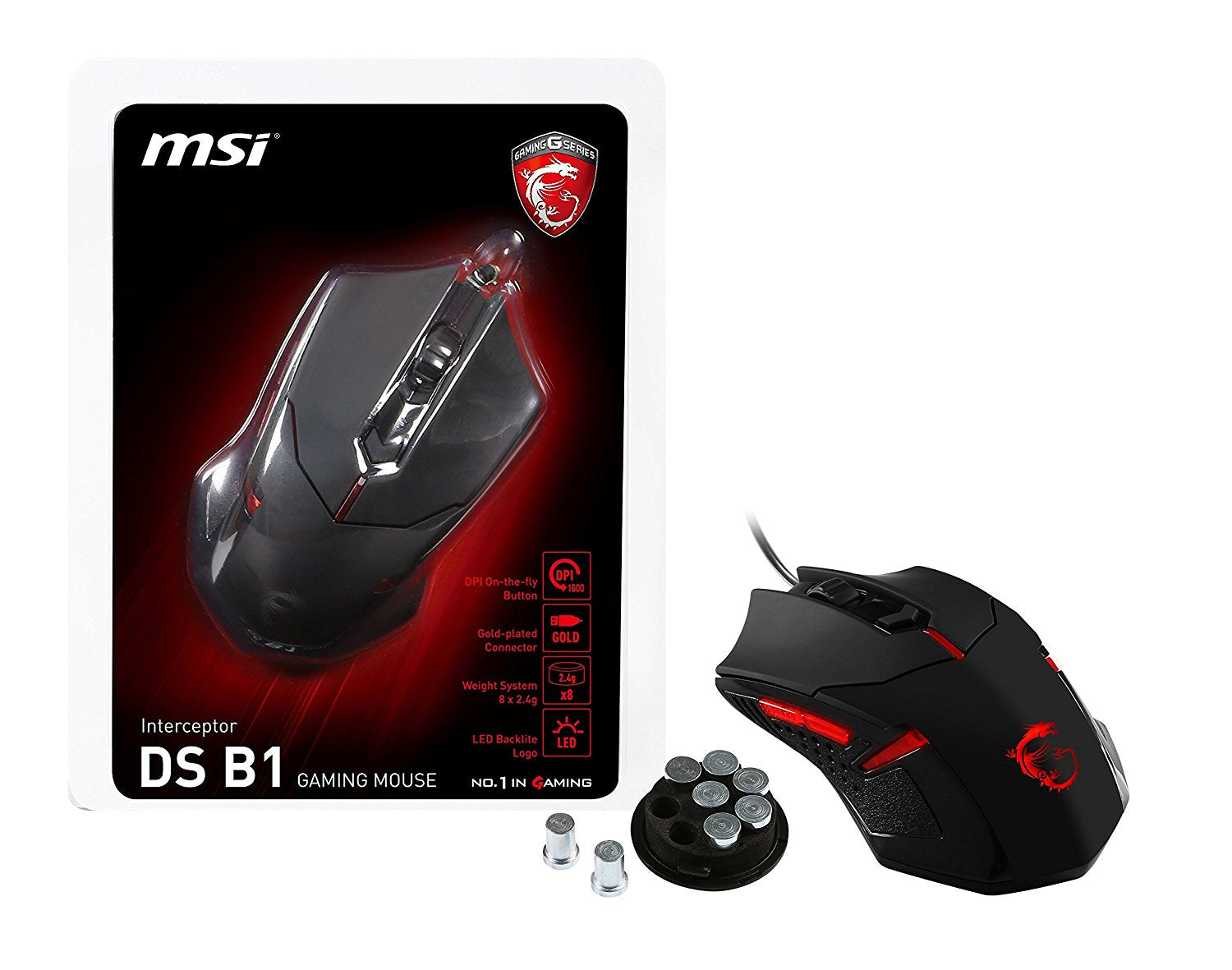 MSI Interceptor DS B1 USB Optical Gaming Mouse with Ergonomic Design and Weight System